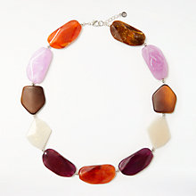 Buy John Lewis Chunky Beaded Necklace, Burgundy/Multi Online at johnlewis.com