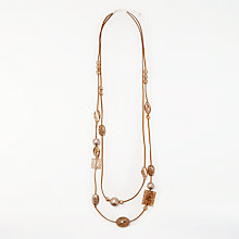 Buy John Lewis Crackle Bead Long Layered Cord Necklace, Multi Online at johnlewis.com