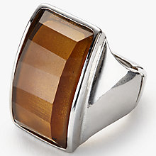 Buy John Lewis Statement Rectangular Ring, Amber, One Size Online at johnlewis.com