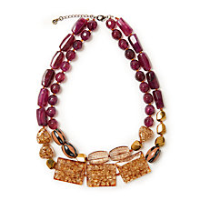 Buy John Lewis J114 Double Layered Chunky Bead Necklace, Honey/Burgundy Online at johnlewis.com