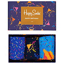 Buy Happy Socks Happy Birthday Sock Musical Gift Box, One Size, Pack of 3, Blue/Multi Online at johnlewis.com