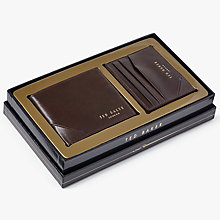 Buy Ted Baker Hofset Leather Wallet Gift Set, Chocolate Online at johnlewis.com