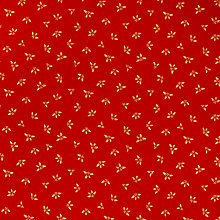 Buy John Louden Holly Print Fabric, Gold/Red Online at johnlewis.com