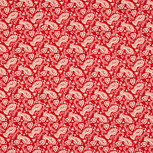 Buy John Louden Bird Print Fabric, Red/Cream Online at johnlewis.com