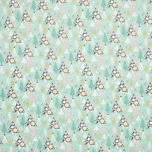 Buy John Louden Merry and Bright Tree Forest Print Fabric, Duck Egg Online at johnlewis.com