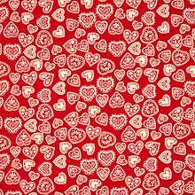 Buy John Louden Scandinavian Hearts Print Fabric, Red/Cream Online at johnlewis.com