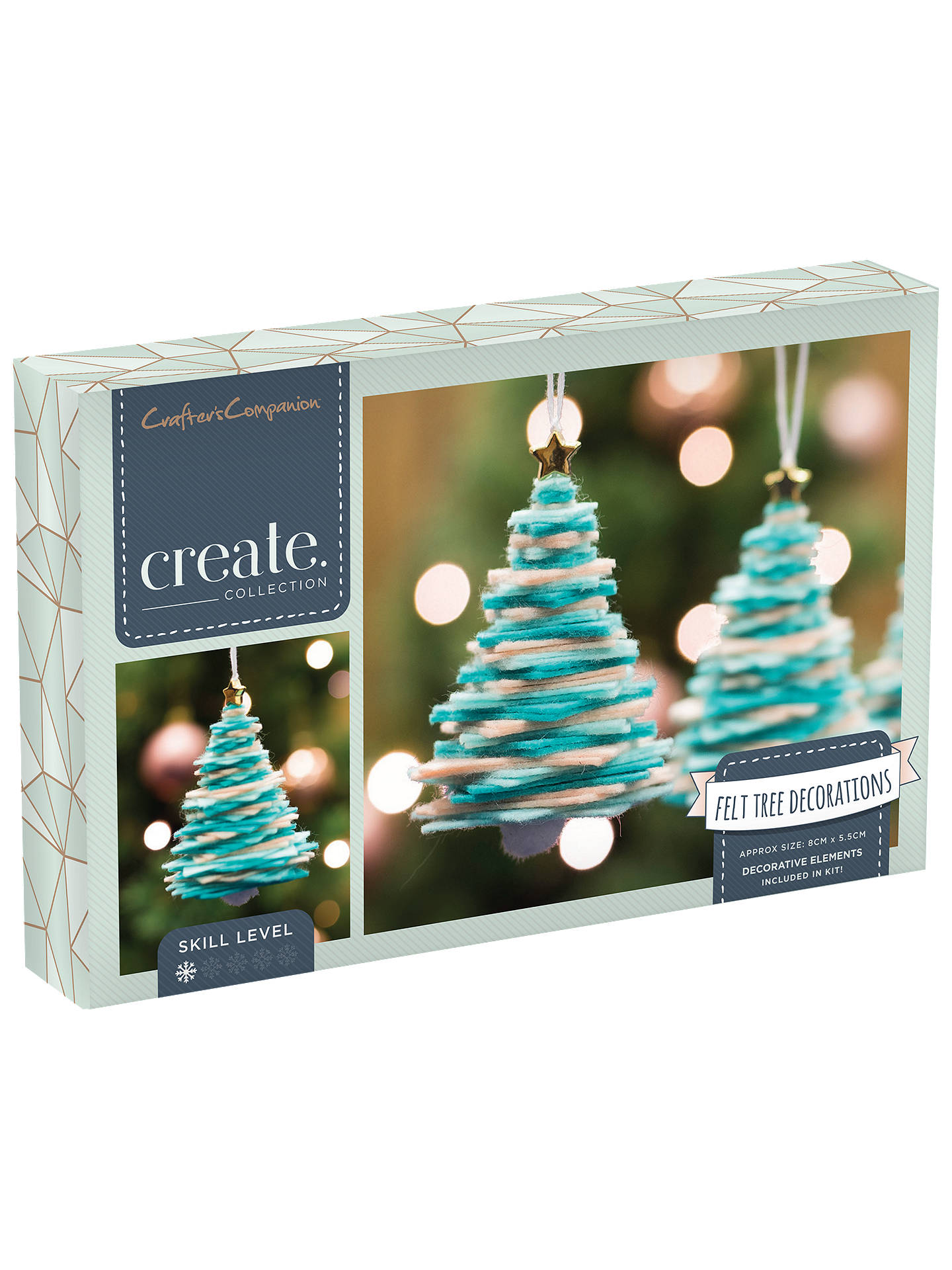 buycrafters companion create your own felt christmas tree decorations pack of 3 online at johnlewis