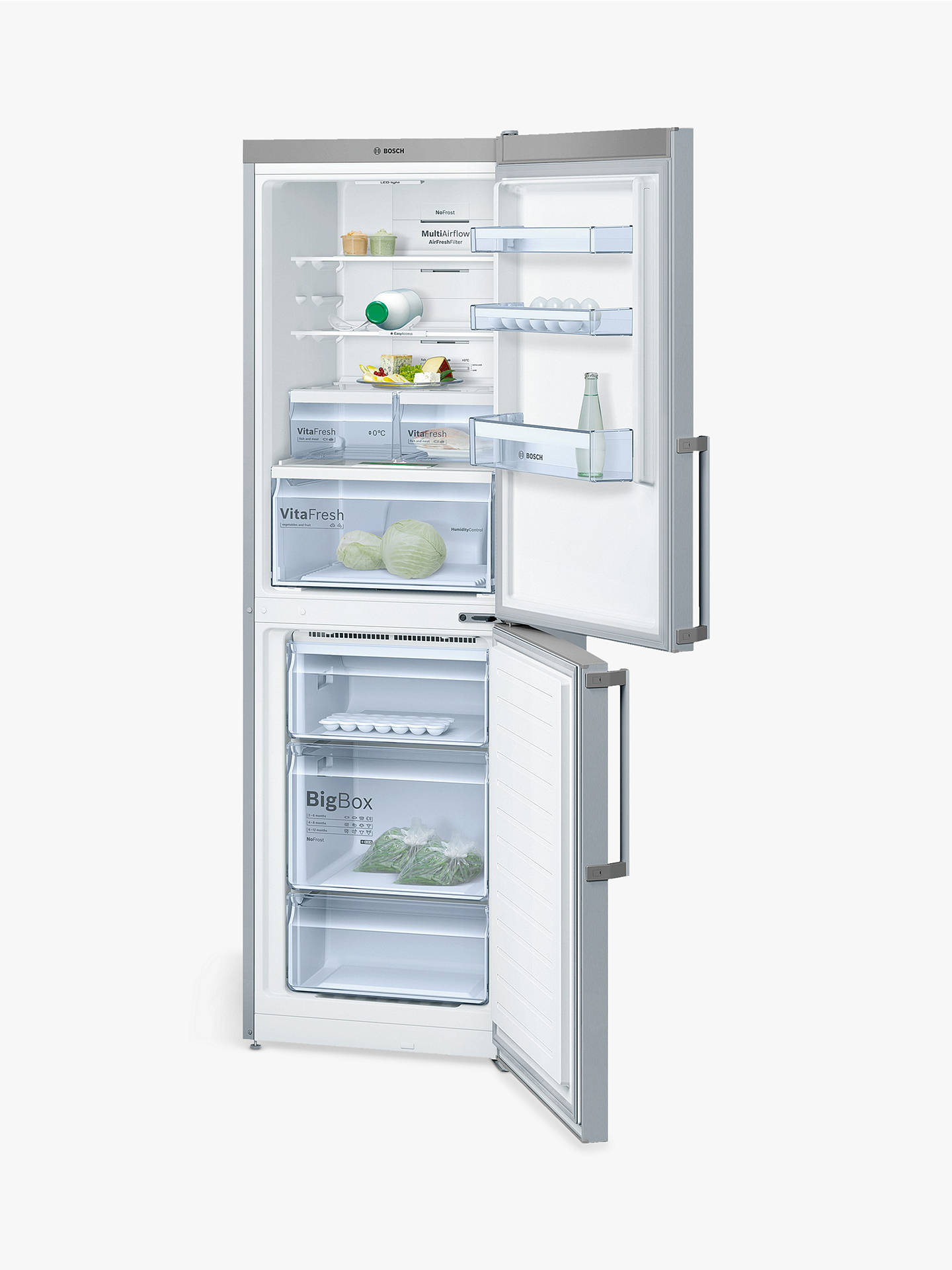 BuyBosch KGN34XL35G Freestanding Fridge Freezer, A++ Energy Rating, 60cm Wide, Stainless Steel Online at johnlewis.com