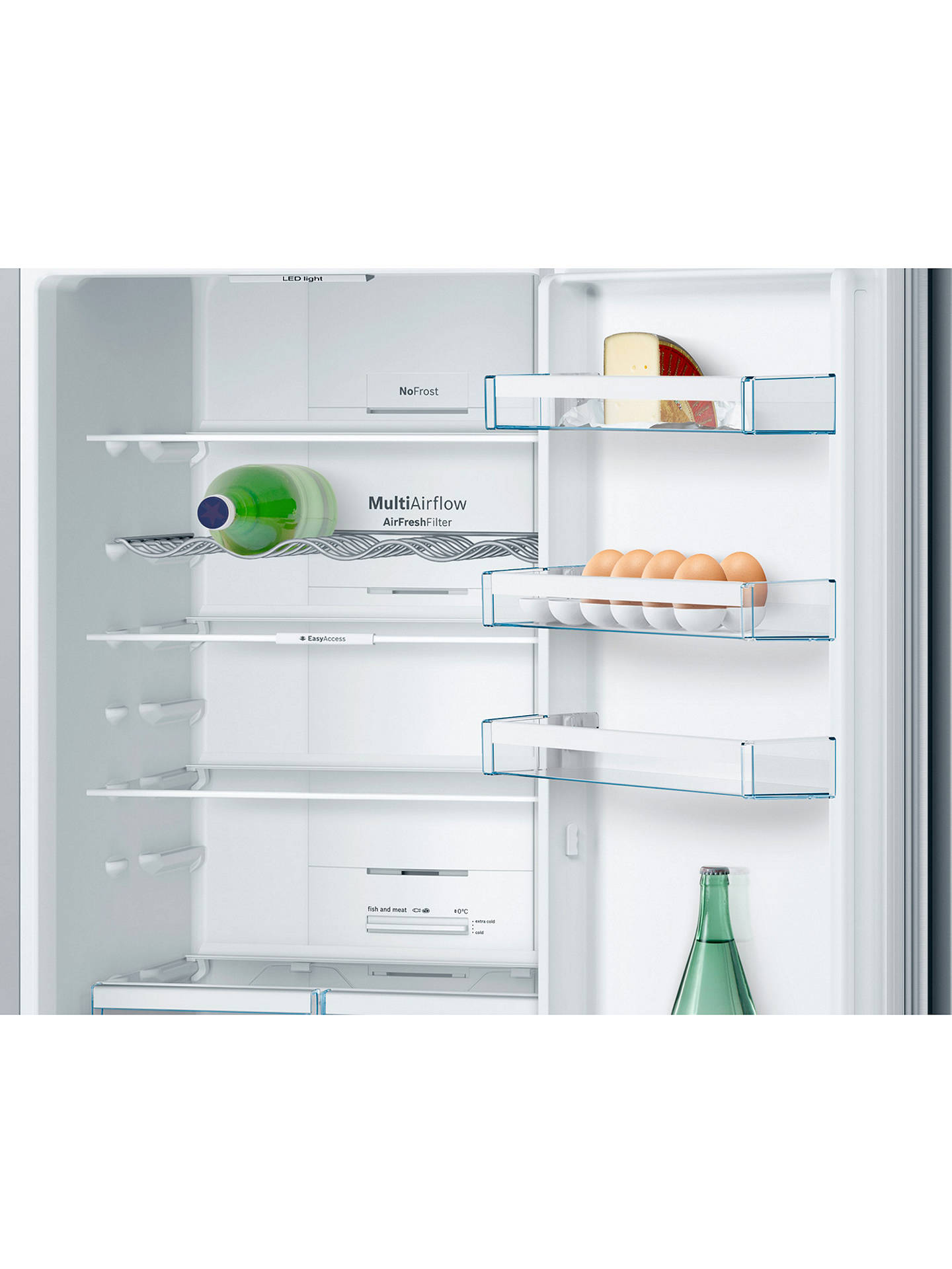 Bosch KGN39VL3AG Freestanding Fridge Freezer, A++ Energy Rating, 60cm Wide,  Stainless Steel