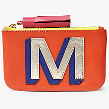 Buy John Lewis 'M' Initial Leather Coin Purse, Orange/Multi Online at johnlewis.com