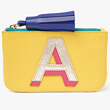 Buy John Lewis 'A' Initial Leather Coin Purse, Yellow/Multi Online at johnlewis.com
