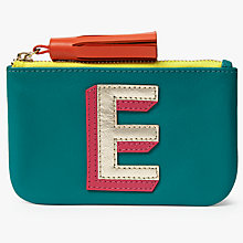 Buy John Lewis 'E' Initial Leather Coin Purse, Green/Multi Online at johnlewis.com