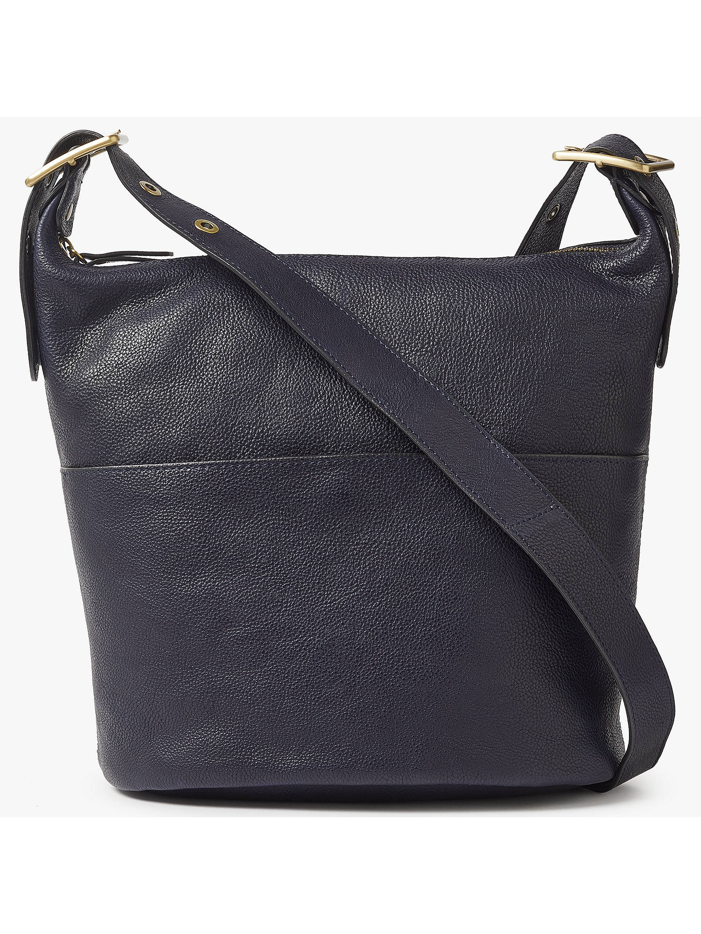 John Lewis Partners Kepley Leather Shoulder Bag Navy Online At Johnlewis
