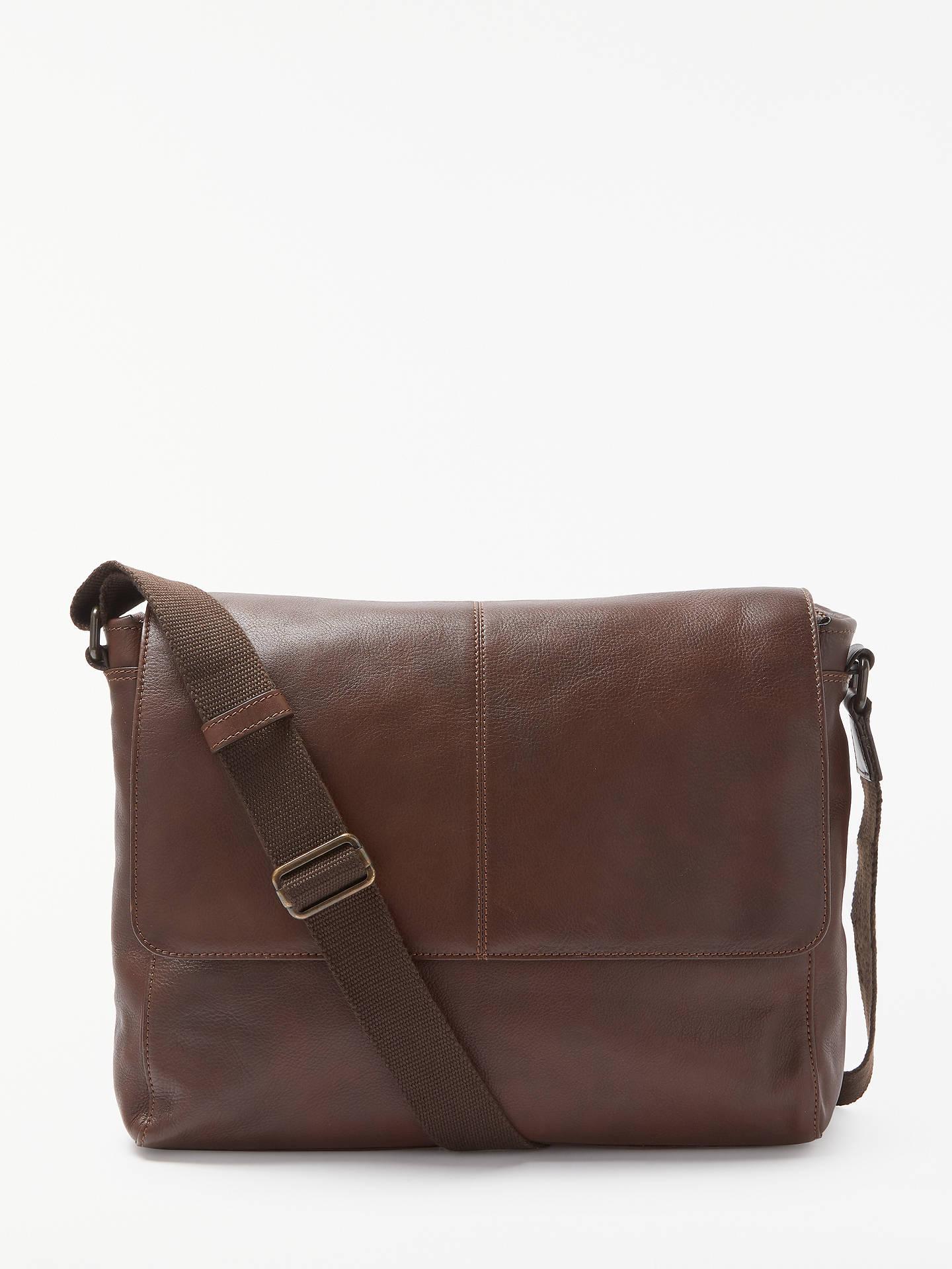 John Lewis Partners Gladstone 2 0 Leather Messenger Bag Brown