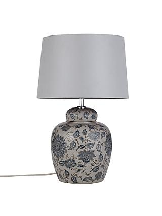 John Lewis Emily Lamp Base with Gemma Shade, Blue / Light Grey