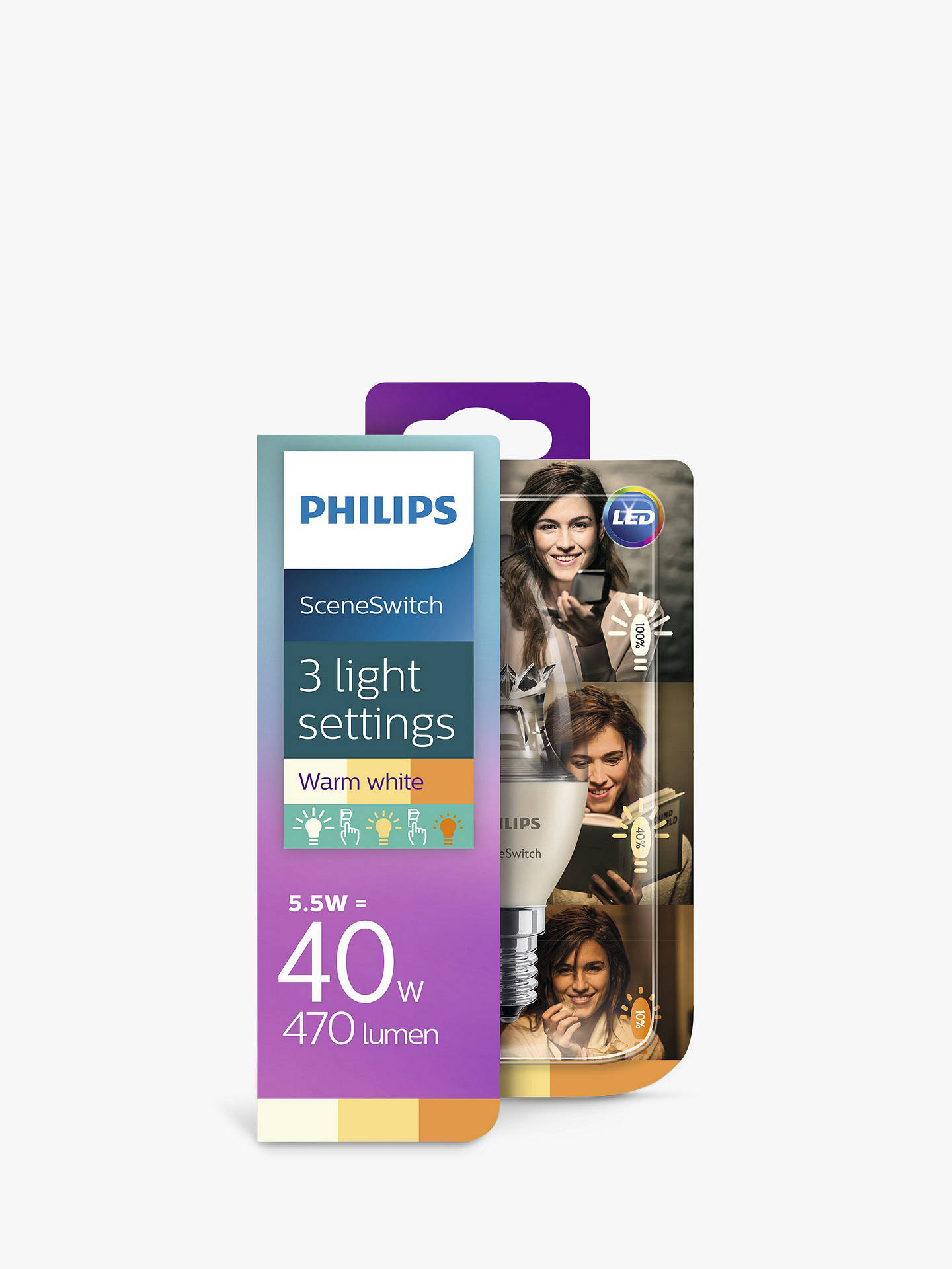 Buy Philips SceneSwitch 5.5W SES LED Candle 3 Step Bulb, Clear, Dimmable Online at johnlewis.com