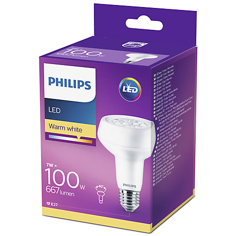 Buy Philips 7W LED Energy Efficient ES R80 Reflector Bulb, Non Dimmable Online at johnlewis.com