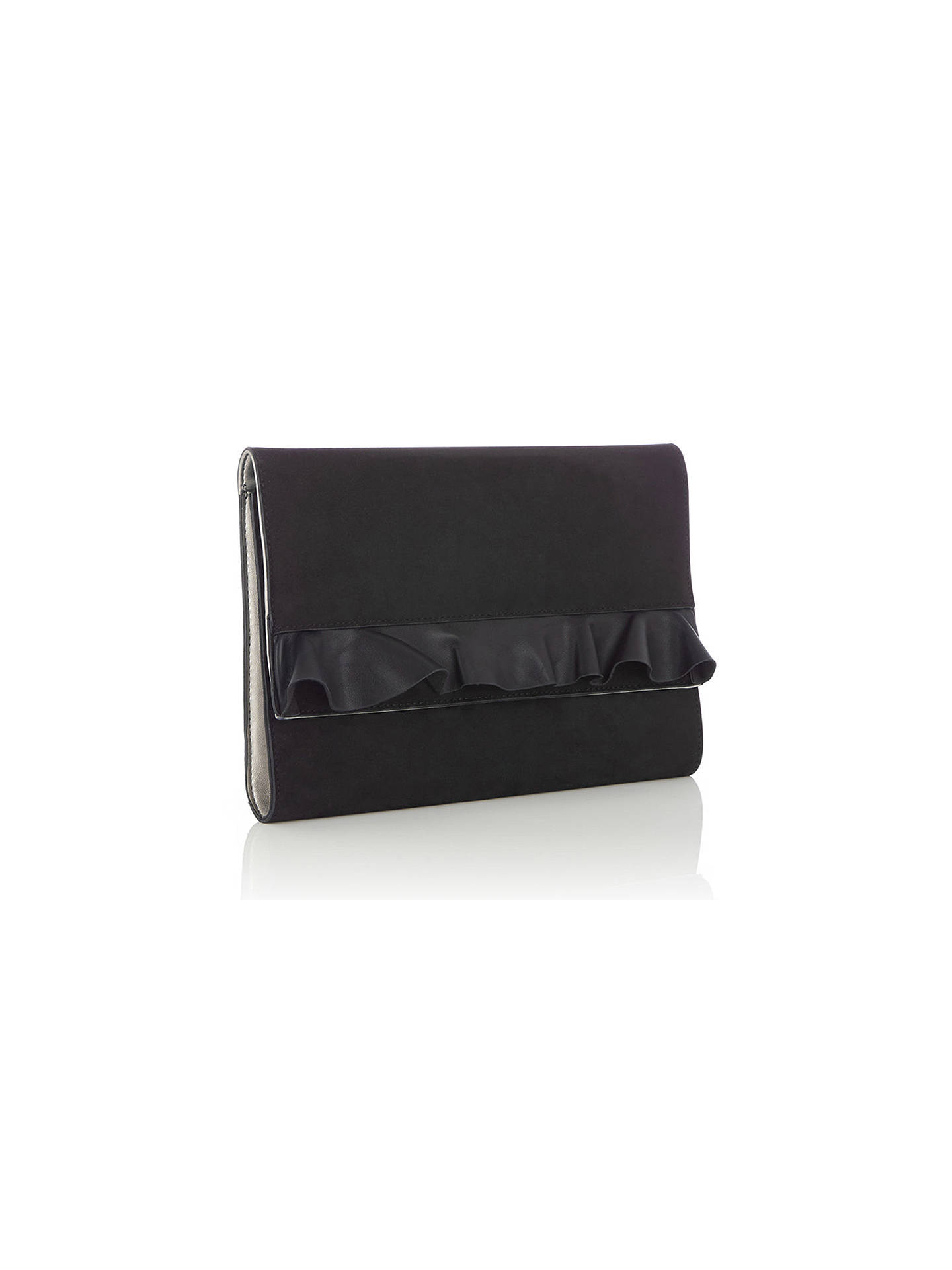 a3dbd3ddef3e Buy Oasis Ruffle Clutch Bag, Black Online at johnlewis.com ...