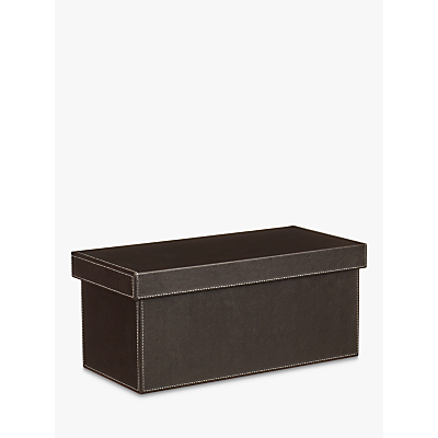 John Lewis Faux Leather Fixed Side Box with Lid, Chocolate