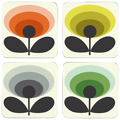 Orla Kiely 70s Oval Flower Coasters, Set of 4, Multi