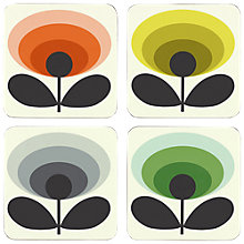 Buy Orla Kiely 70s Oval Flower Coasters, Set of 4, Multi Online at johnlewis.com