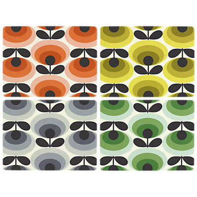 Orla Kiely 70s Oval Flower Placemats, Set of 4, Multi, L28cm