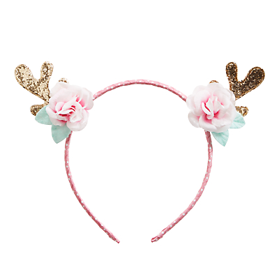 Rockahula Girls' Reindeer Glitter Antlers Headband, Pink/Gold