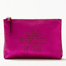 Buy AND/OR Mila Slogans Leather Pouch, Pink Online at johnlewis.com