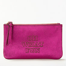 "Buy AND/OR Mila Slogans Leather ""Oh What Fun"" Coin Purse, Pink Online at johnlewis.com"
