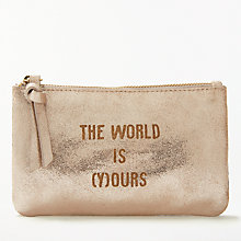 "Buy AND/OR Mila Slogans Leather ""The World is (Y)ours"" Coin Purse, Rose Gold Online at johnlewis.com"