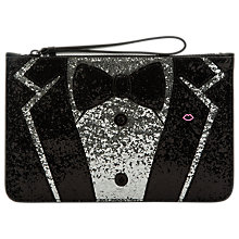 Buy Lulu Guiness Tux Grace Medium Pouch, Black/Silver Online at johnlewis.com
