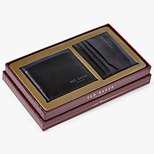 Buy Ted Baker Crossy Leather Wallet Gift Set, Black Online at johnlewis.com