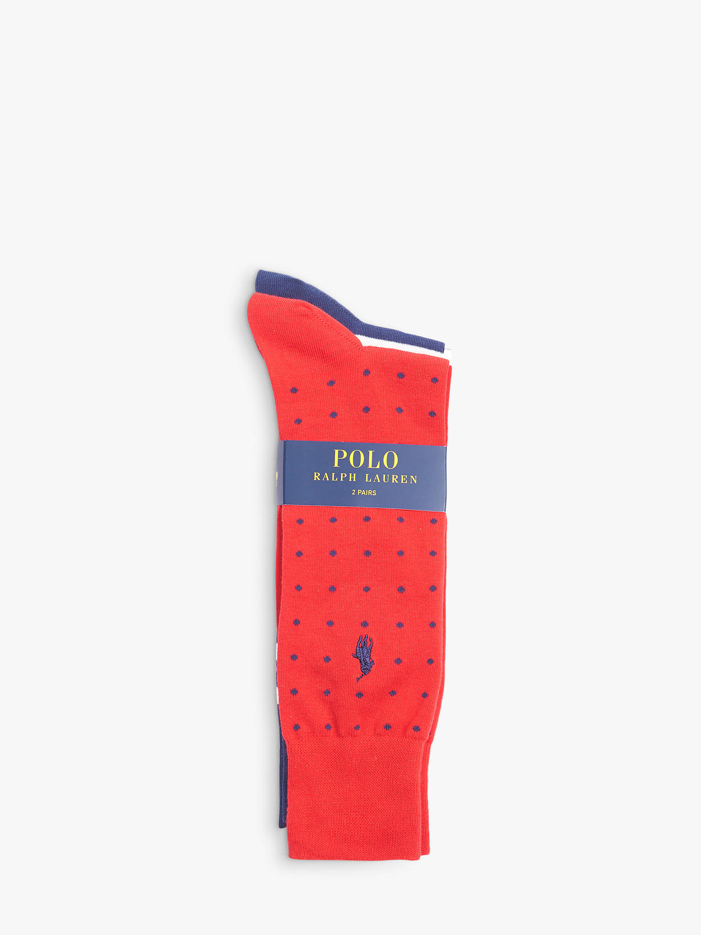 Buy Polo Ralph Lauren Egyptian Cotton Blend Stripe Dot Socks, Pack of 2, One Size, Multi Online at johnlewis.com