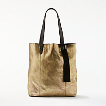 Buy AND/OR Shadi North / South Leather Tote Bag, Gold Online at johnlewis.com