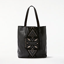 Buy AND/OR Shadi North / South Leather Applique Tote Bag, Black Online at johnlewis.com