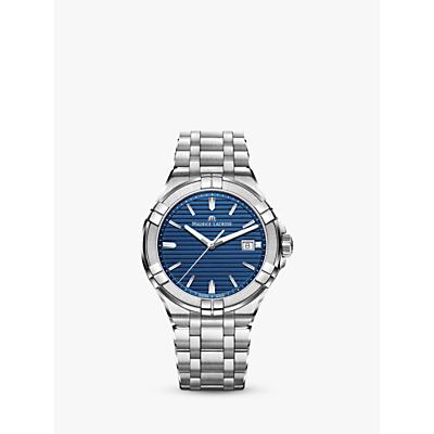 Maurice Lacroix AI1008-SS002-431-1 Men's Aikon Date Bracelet Strap Watch, Silver/Blue