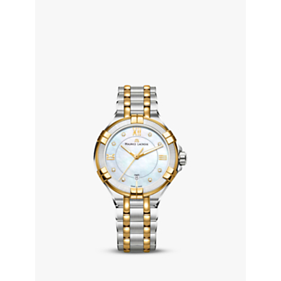 Maurice Lacroix AI1004-PVY13-171-1 Women's Aikon Two Tone Diamond Date Bracelet Strap Watch, Silver/Gold