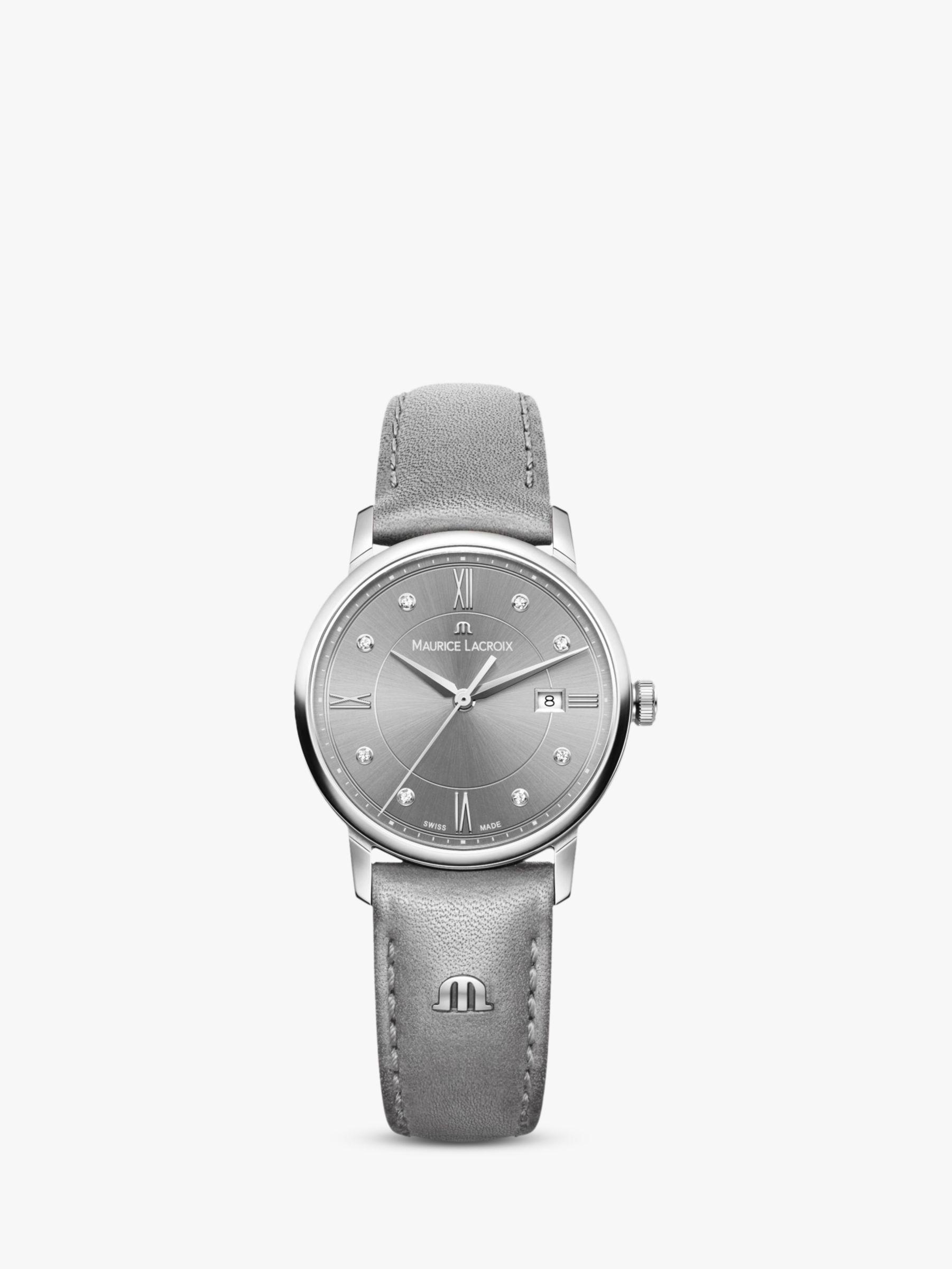 Maurice Lacroix Maurice Lacroix EL1094-SS001-250-1 Women's Eliros Diamond Date Leather Strap Watch, Grey/Silver