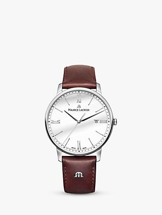 Maurice Lacroix EL1118-SS001-113-1 Men's Eliros Date Leather Strap Watch, Dark Brown/White
