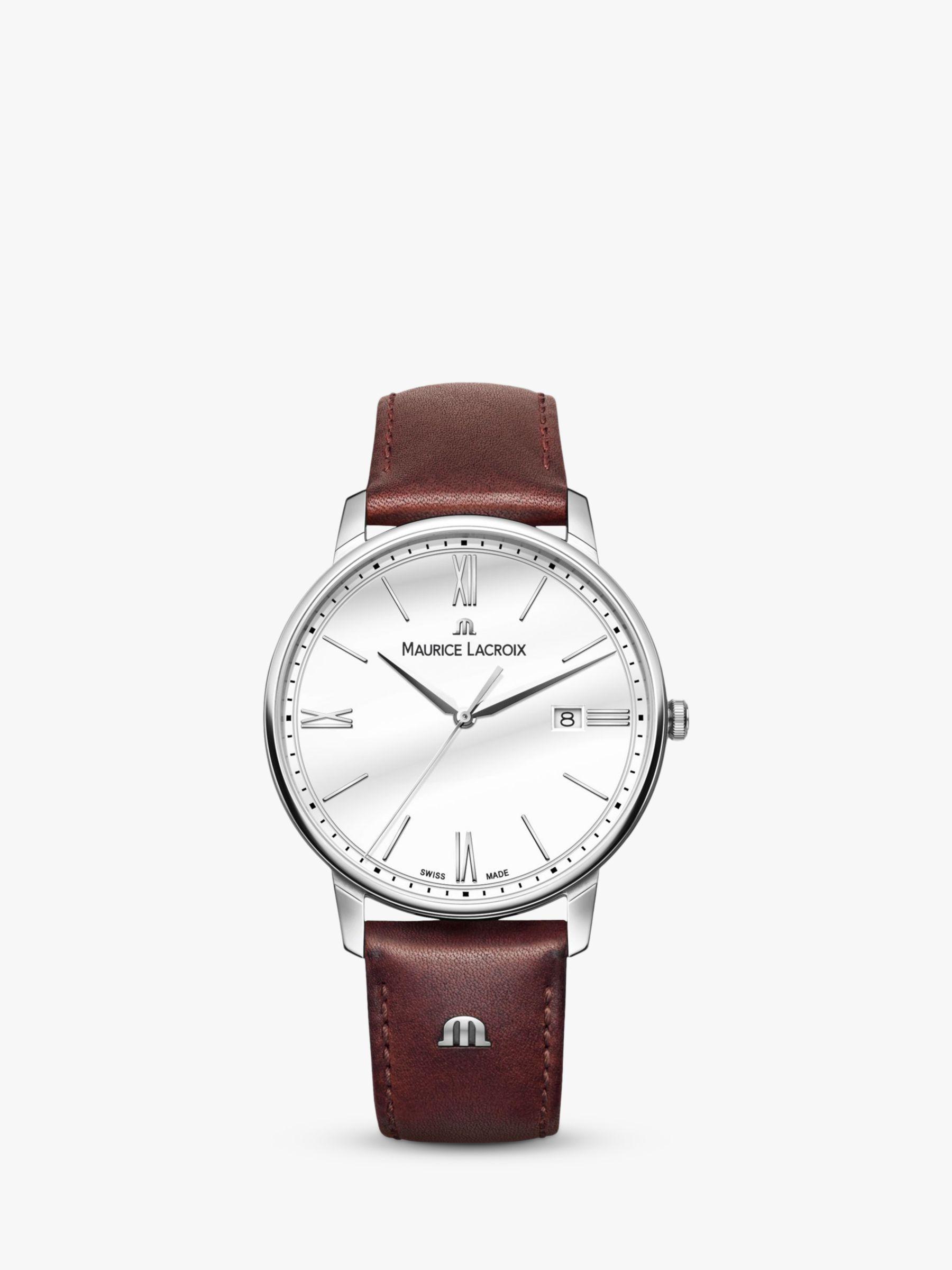 Maurice Lacroix Maurice Lacroix EL1118-SS001-113-1 Men's Eliros Date Leather Strap Watch, Dark Brown/White