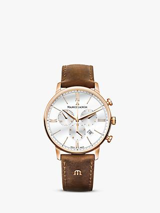 Maurice Lacroix EL1098-PVP01-113-1 Men's Eliros Chronograph Date Leather Strap Watch, Brown/White