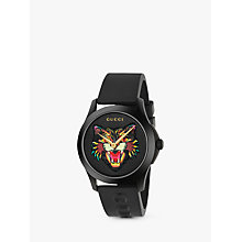 Buy Gucci YA1264021 Unisex G-Timeless Rubber Strap Watch, Black Online at johnlewis.com
