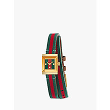 Buy Gucci YA128527 Women's Frame Fabric Strap Watch, Red/Green Online at johnlewis.com