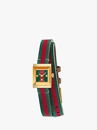 Gucci YA128527 Women's Frame Fabric Strap Watch, Red/Green