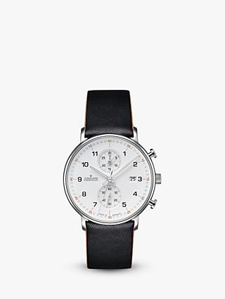 Junghans 041/4771.00 Men's Form Chronograph Date Leather Strap Watch, Black/White