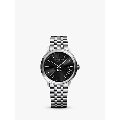 Image of Raymond Weil 2237-ST-BEAT2 Men's Maestro The Beatles Abbey Road Limited Edition Date Bracelet Strap Watch, Silver/Black