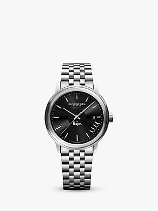 Raymond Weil 2237-ST-BEAT2 Men's Maestro The Beatles Abbey Road Limited Edition Date Bracelet Strap Watch, Silver/Black