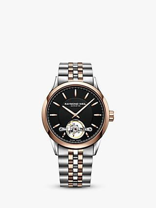 Raymond Weil 2780-SP520001 Men's Freelancer Automatic Open Balance Wheel Two Tone Bracelet Strap Watch, Silver/Rose Gold