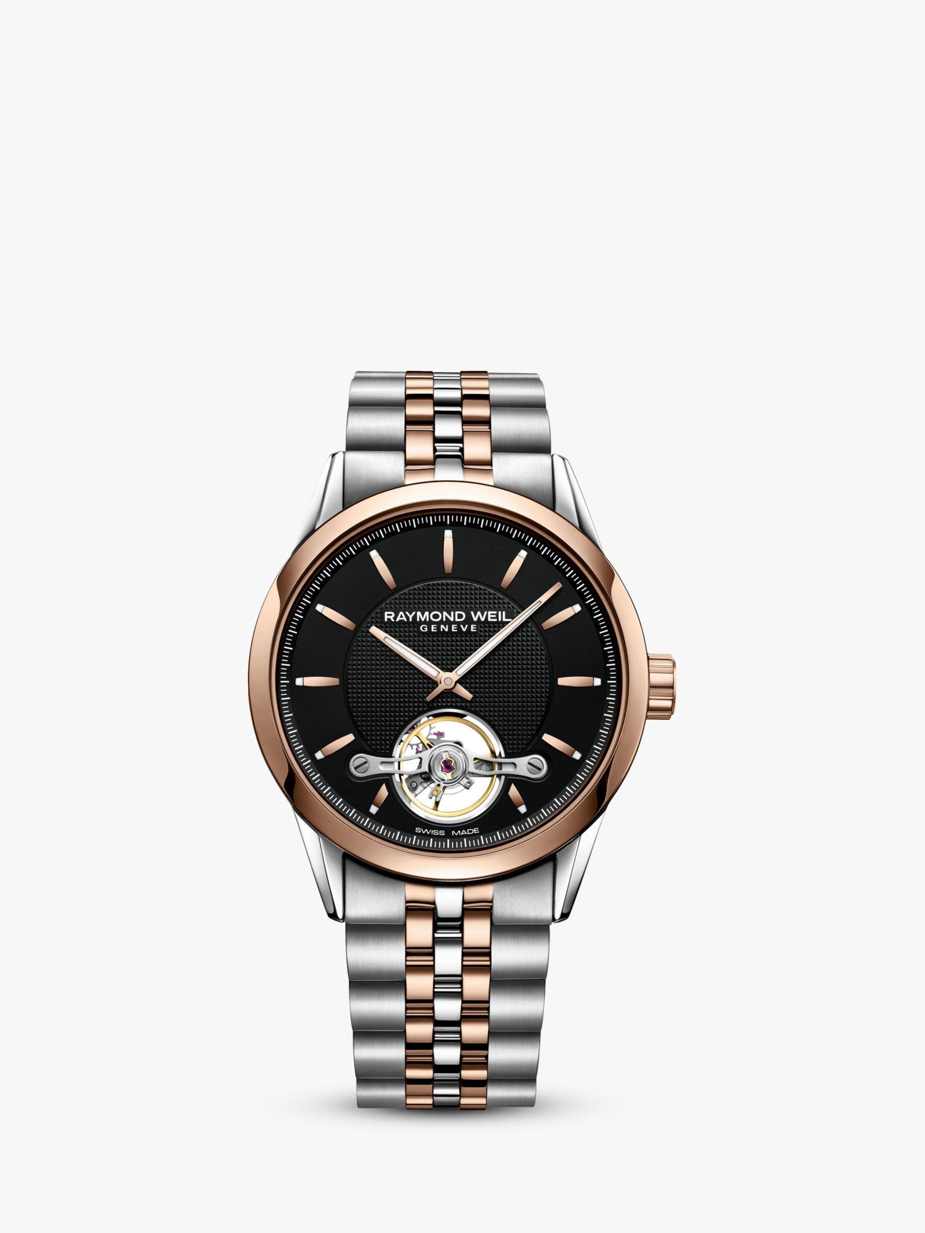 Raymond Weil Raymond Weil 2780-SP520001 Men's Freelancer Automatic Open Balance Wheel Two Tone Bracelet Strap Watch, Silver/Rose Gold