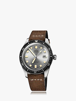 Oris 01 733 7720 4051-07 5 21 02 Men's Divers Sixty-Five Automatic Date Leather Strap Watch, Dark Brown/Silver